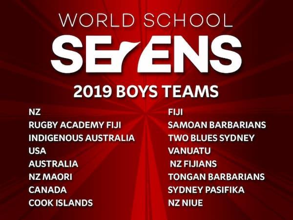 World Schools Sevens Teams 2019 Boys